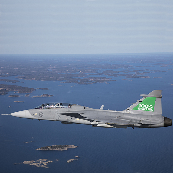 Pioneering first flight on 100% renewable biofuel for GKN's RM12 Gripen fighter engine