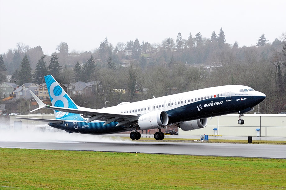 "Boeing's first 737 MAX takes off from Renton Field in Renton, Washington. The airplane, named the ""Spirit of Renton"", flew for about 2 hours and 45 minutes. Boeing photo by Matthew Thompson"