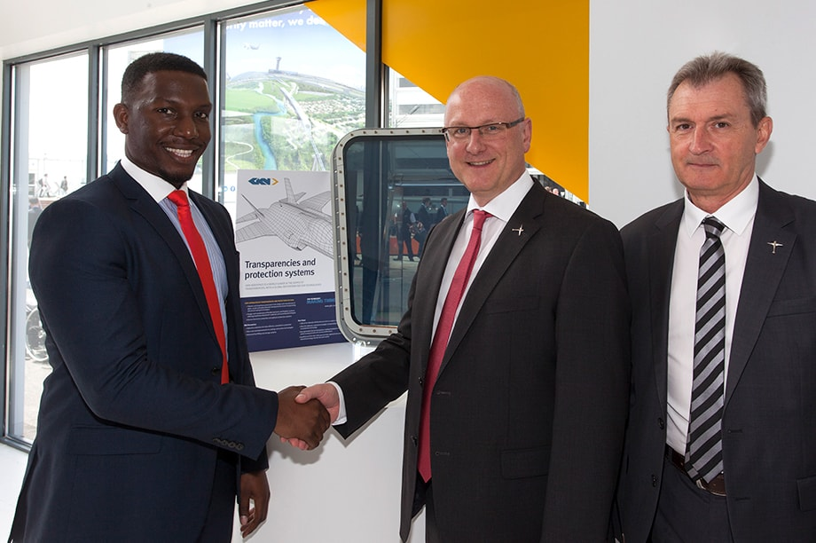 Keith McLeod, Contracts Mgr, GKN Aerospace (left) pictured with Peter Hermle, CEO and Francis Nichols, Head of Procurement and Supply Chain, Dornier Sea Wings