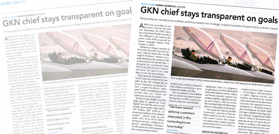 GKN chief stays transparent on goals